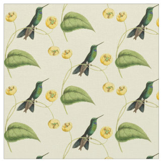 Vintages Grün gekrönter glänzender Kolibri Stoff
