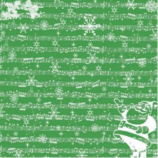 Vintages grünes Weihnachtsmusical-Blatt Foto Skulptur
