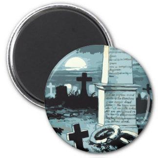 Vintages Halloween, Creepy Friedhof mit Gräbern Runder Magnet 5,7 Cm