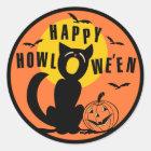 Vintages Halloween - glückliche schwarze Katze Runder Aufkleber