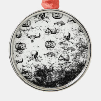 Vintages Halloween-Muster Silbernes Ornament
