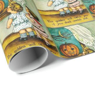 Vintages Halloween scherzt Kürbis-Partyverpackung Geschenkpapier