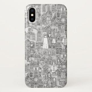 Vintages Halloween Schwarz-weiß iPhone X Hülle