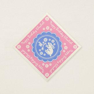 Vintages Häschen-Kaninchen-blaues rosa Servietten