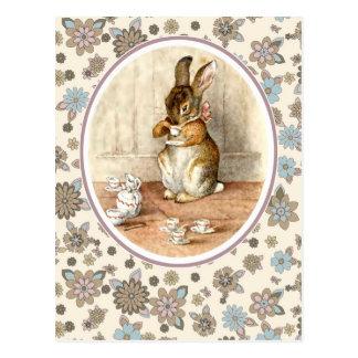 Vintages Häschen. Ostern-Postkarten Postkarte