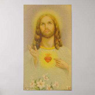 Vintages heiliges Herz von Jesus Christus Poster