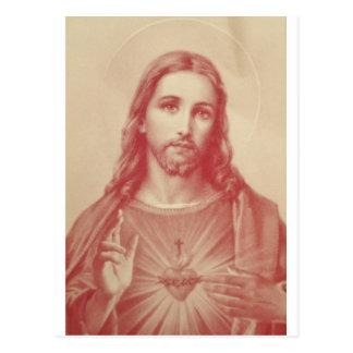 Vintages heiliges Herz von Jesus Postkarte