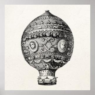 Vintages Heißluft-Ballon-Retro Luftschiff-alte Poster