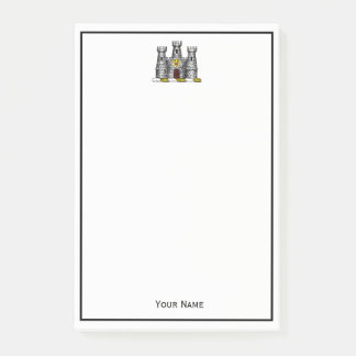 Vintages heraldisches Schloss-Emblem-Wappen Wappen Post-it Klebezettel