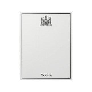 Vintages heraldisches Schloss-Emblem-Wappen Wappen Schmierblöcke