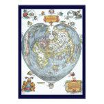 Vintages Herz-geformte antike Weltkarte Peter Individuelle Ankündigungskarte