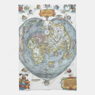 Vintages Herz-geformte antike Weltkarte Peter Küchentuch