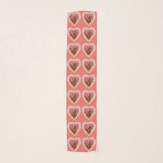 Vintages Herz mit Blumen Schal