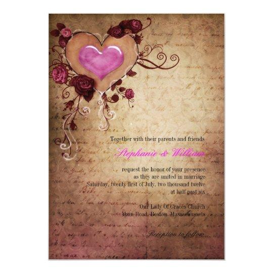 Vintages Herz mit den Rosen, die Einladung Wedding