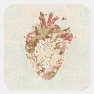 Vintages Herz Quadratischer Aufkleber
