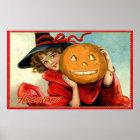 Vintages Hexe und Kürbis Halloween-Partyplakat Poster