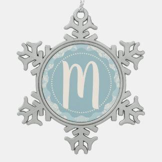 Vintages Himmel-Blau-elegantes personalisiertes Schneeflocken Zinn-Ornament