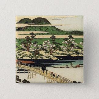 Vintages Hiroshige Japan Quadratischer Button 5,1 Cm