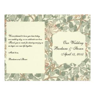 Vintages Hochzeits-Programm mit Blumen 21,6 X 27,9 Cm Flyer