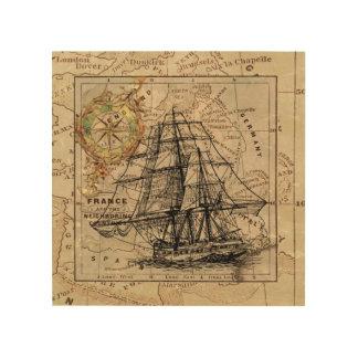 Vintages hohes Schiffs-hölzerne Holzleinwand