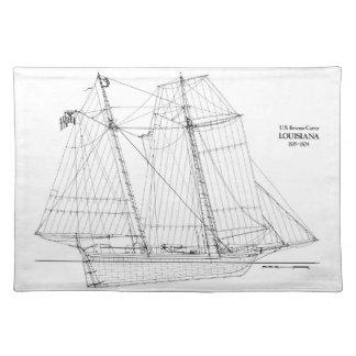 Vintages hohes Schiffs-Louisiana-Tischset Stofftischset