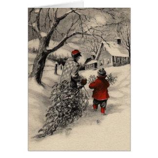 Vintages holendes Zuhause die Weihnachtsbaum-Karte Karte