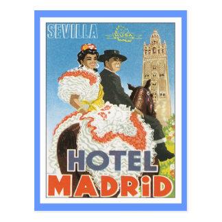 Vintages Hotel Sevillas Spanien Postkarte