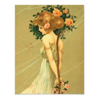 Vintages hübsches Mädchen mit rosa Rosen und Personalisierte Ankündigungskarten