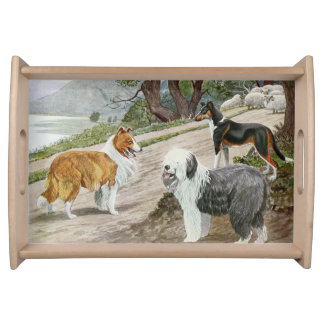 Vintages Hundeliebhaber-Kunst-Collie-Trio Tablett