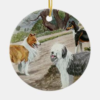 Vintages Hundetrio Rundes Keramik Ornament