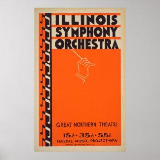 Vintages Illinois-Symphonie-Orchester-Plakat Poster