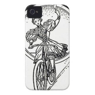 Vintages Illustrations-Mädchen auf Fahrrad Case-Mate iPhone 4 Hülle