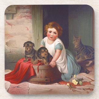 Vintages Illustrations-Mädchen mit Welpen und Getränkeuntersetzer