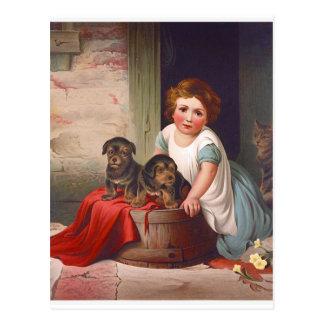 Vintages Illustrations-Mädchen mit Welpen und Postkarte