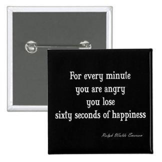 Vintages Inspirational Glück-Zitat Emerson Quadratischer Button 5,1 Cm