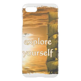 Vintages inspirational Zitat der Weltkarte iPhone 8/7 Hülle