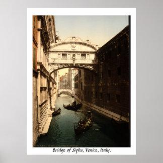 Vintages Italien, Brücke der Seufzer Venedig Poster