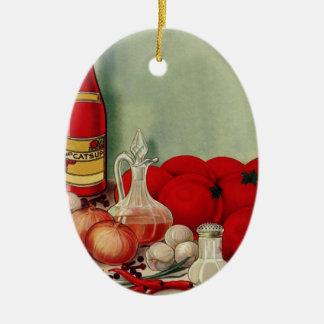 Vintages italienisches ovales keramik ornament