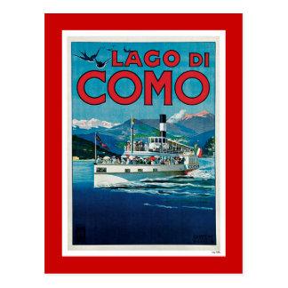 """Vintages italienisches Reise-Plakat """"Lago di Como"""" Postkarte"""