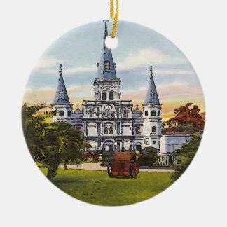 Vintages Jackson quadratisches New Orleans Keramik Ornament
