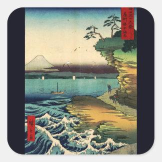 Vintages Japaner Ukiyo-e der Fujisan 房州保田ノ海岸 Quadratischer Aufkleber