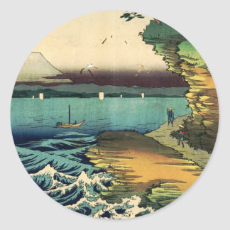 Vintages Japaner Ukiyo-e der Fujisan 房州保田ノ海岸 Runder Aufkleber
