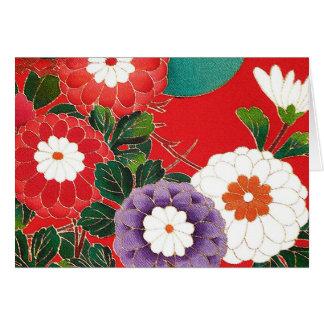 Vintages japanisches Gewebe - rote Dahlien Karte