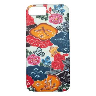 Vintages japanisches Kimono-Gewebe (Bingata) iPhone 8/7 Hülle