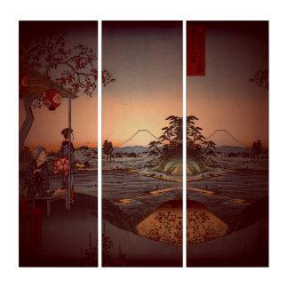 Vintages japanisches Teehaus Triptychon