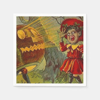 Vintages JOL erschrickt Mädchen-Halloween-Party Papierserviette
