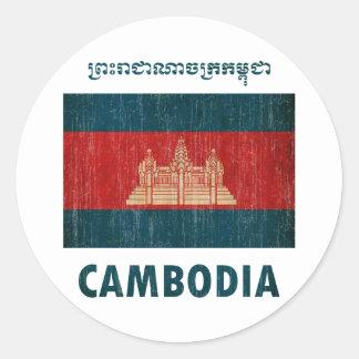 Vintages Kambodscha Runder Aufkleber