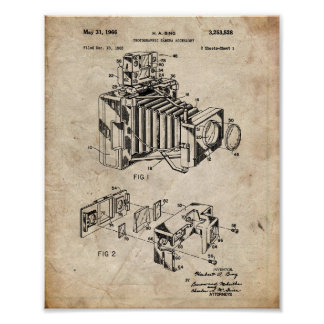 Vintages Kamera-Patent Poster