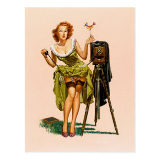 Vintages KameraPinupmädchen Postkarte