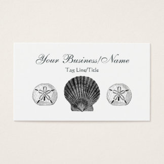 Vintages Kamm-Muschel-und Sand-Dollar ~ Visitenkarte